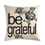 """Be Happy"" Pattern Cotton Linen Cushion Cover Pillow case Home Decor 18""*18"""
