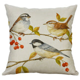 Cover Sofa 18'' Linen Case Pattern Pillow Home Bird Cushion Cotton Decor