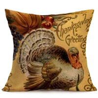 Happy Thanksgiving Day Leaves Soft Linen Pillow Case Cushion Cover Home Decor