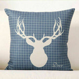 "18"" Sika Deer Cotton Linen Pillow Case Waist Cover Home Decor Cushion Cover"