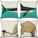 "18"" Combination Print Cotton Linen Cushion Cover Pillow Case Sofa Home Decor"