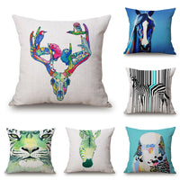 "18"" Home Cotton Linen Car Sofa Waist Cushion Pillow Case Cover Watercolour Zebra"