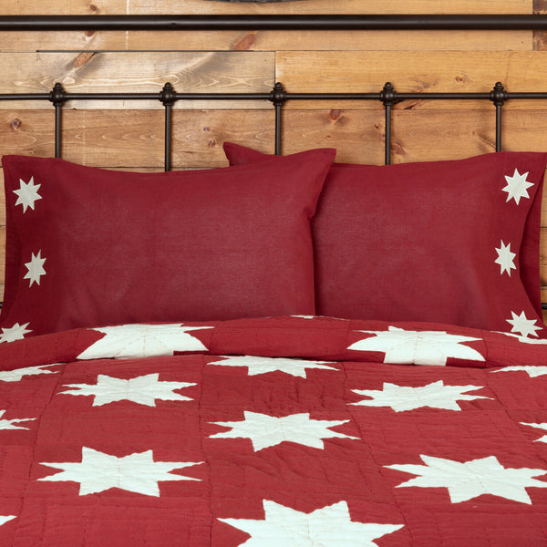 Crimson Red Pillowcase Set Cream Quilted Snowflake 8-Point Star Trim Kent
