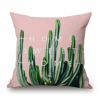"18"" Home Cotton Linen Car Bed Sofa Throw Pillow Case Cacti Plant Square Cover"