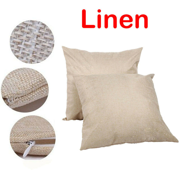 "6Pcs 20"" Linen Blank Pillow Case DIY Printed Cushion Cover for Sublimation Decor"
