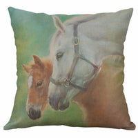 "18"" Pillow Case New style Horse Pattern Cotton Linen Home Decor Cushion Cover"