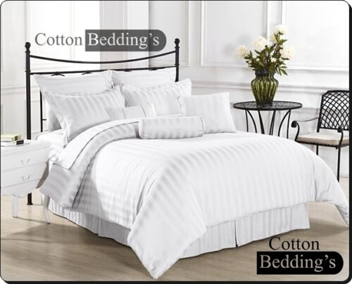 1200 TC 100% Egyptian Cotton All UK Size Hotel Scala Bed Linen in White Striped