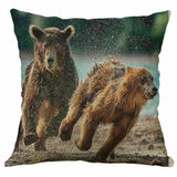 "Print Cushion Cover Pillow Case Sofa Home Decor Cotton Linen Bear 18"" Animal"
