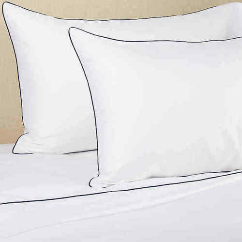 $200 NEW Frette 2 PC SET Post Modern Pillowcases White Navy Blue Cases KING