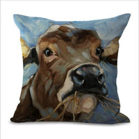 "18"" Linen Oil Painting Cow Pillow Case Sofa Car Waist Cushion Cover Home Decor"