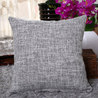 18''X18'Cotton Linen Pillow Case Sofa Waist Throw Cushion Solid Cover Home Decor