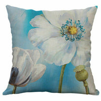 "18"" Cotton Linen Printed Blue flower Pillow Cases Cushion Cover Sofa Home Decor"