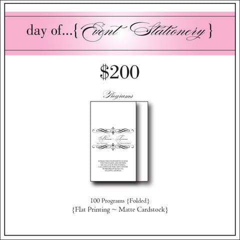 $200 day of Event Stationery