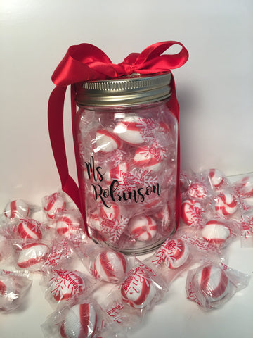 Personalized Mason Jar filled w/Peppermints