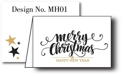 Merry Christmas Gold {Holiday Cards} Set of 12