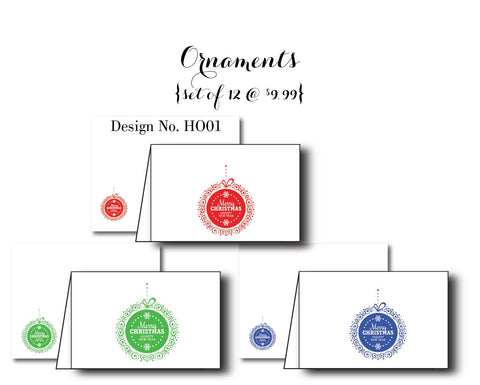 Ornaments {Holiday Cards} Assorted Set of 12