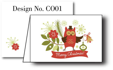 Whimsical Owl  {Holiday Cards} Set of 12