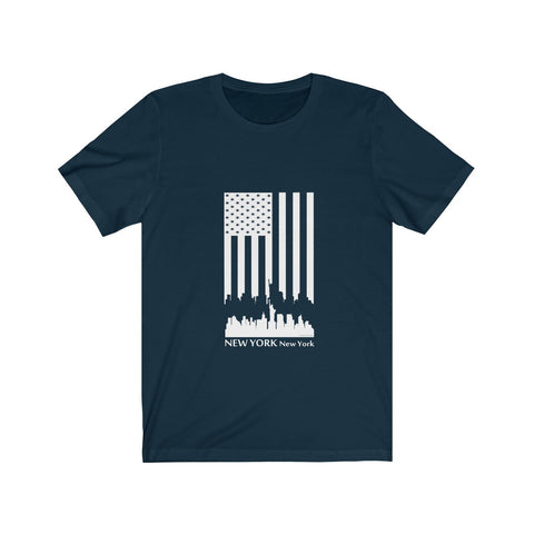 CAUTION LINE Premium Apparel New York Skyline U.S. Flag  (White ) Tee
