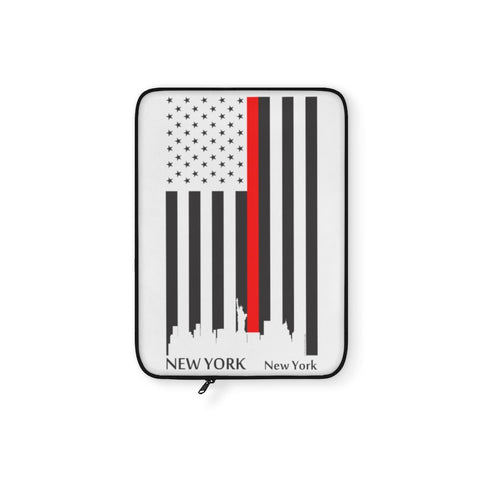 CAUTION LINE Premium Apparel Laptop Sleeve - Thin Red Line New York City (White Sleeve)