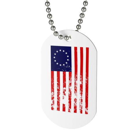 CAUTION LINE Premium Apparel Distressed Betsy Ross Flag Dog Tag