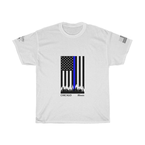CAUTION LINE Premium Apparel Thin Blue Line Chicago Tee (B)
