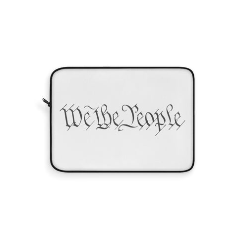 CAUTION LINE Premium Apparel Laptop Sleeve - We The People - Gray (White Sleeve)
