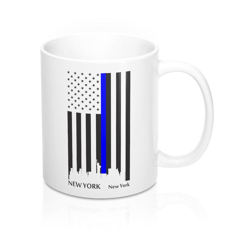 CAUTION LINE Premium Apparel Thin Blue Line New York City Mug - 11oz - Black / White
