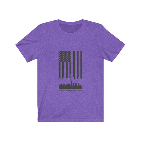 CAUTION LINE Premium Apparel New York Skyline U.S. Flag  (Black ) Tee