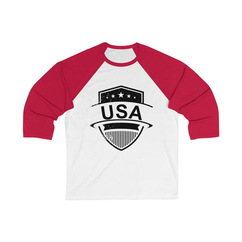CAUTION LINE Premium Apparel USA SHield Unisex 3/4 Sleeve Baseball Tee