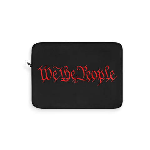CAUTION LINE Premium Apparel Laptop Sleeve - We The People - Red (Black Sleeve)