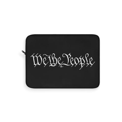 CAUTION LINE Premium Apparel Laptop Sleeve - We The People Subdued - White (Black Sleeve)