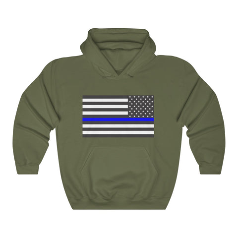 CAUTION LINE Premium Apparel Thin Blue Line Unisex Heavy Blend™ Hooded Sweatshirt