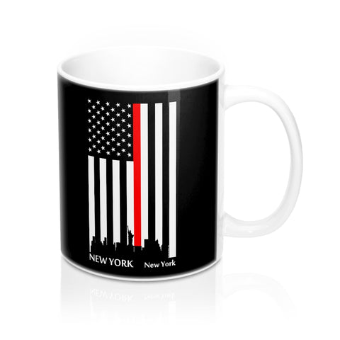 CAUTION LINE Premium Apparel Thin Red Line New York City Mug - 11oz - White / Black