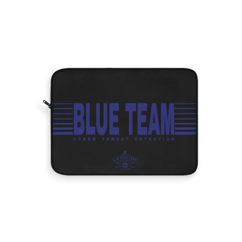 CAUTION LINE Premium Apparel Laptop Sleeve - Blue Team (Black Sleeve)