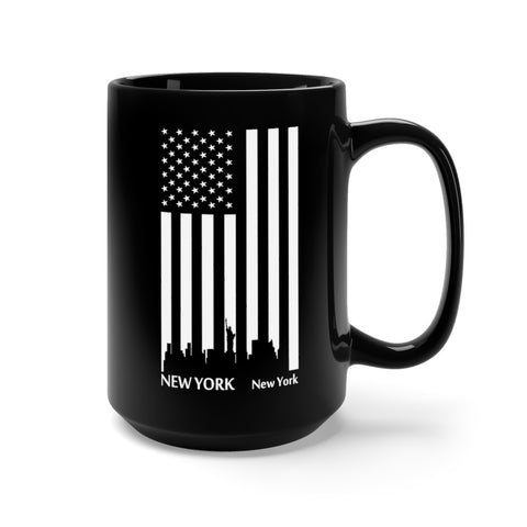 CAUTION LINE Premium Apparel New York Skyline Flag Mug 15oz - Black with White Print