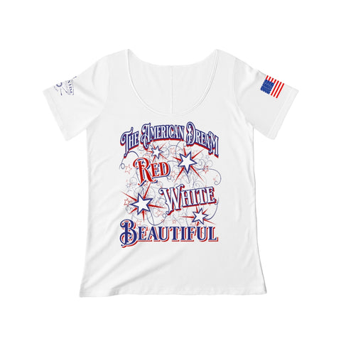 CAUTION LINE Premium Apparel Red, White and Beautiful Women's Scoop Neck T-shirt