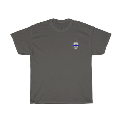 CAUTION LINE Premium Apparel Thin Blue Line (Small design) Tee