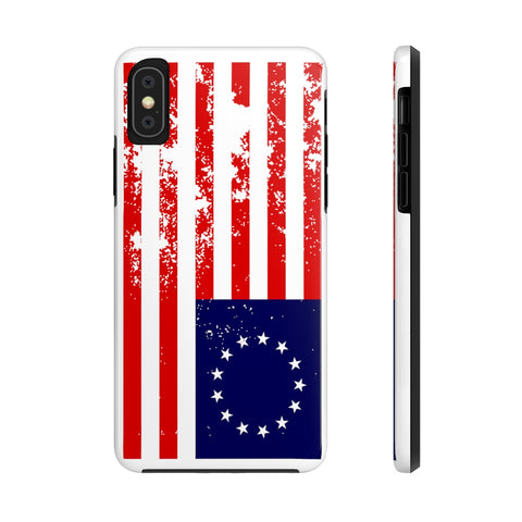 CAUTION LINE Premium Apparel Case Mate Tough Phone Cases - Distressed Betsy Ross Flag