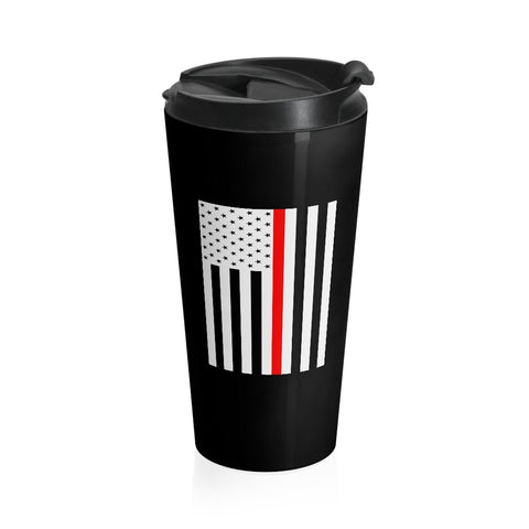 CAUTION LINE Premium Apparel Thin Red Line Stainless Steel Travel Mug (W)