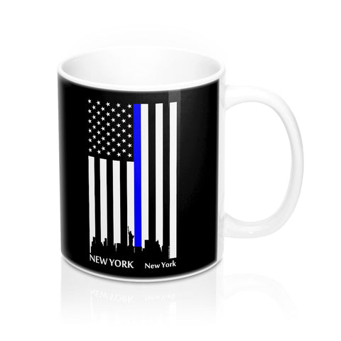 CAUTION LINE Premium Apparel Thin Blue Line New York City Mug - 11oz - White / Black