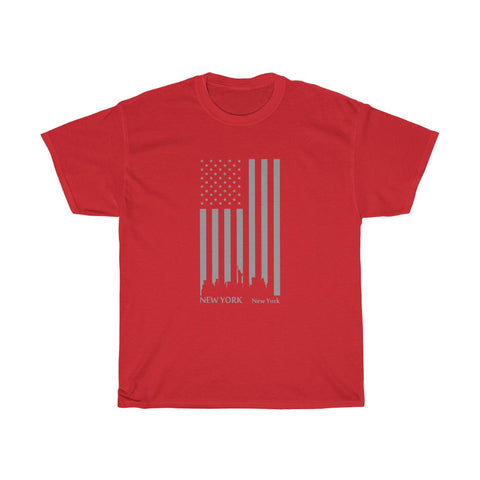 CAUTION LINE Premium Apparel US Flag New York Skyline (Gray) Tee