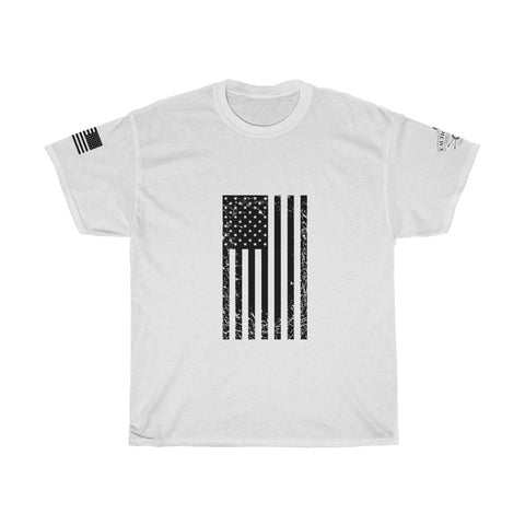CAUTION LINE Premium Apparel Distressed US Flag (black) Tee