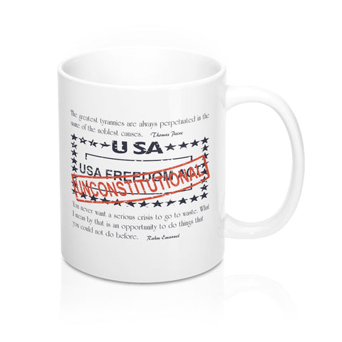 CAUTION LINE Premium Apparel Unconstitutional USA Freedom Act Mug - 11oz