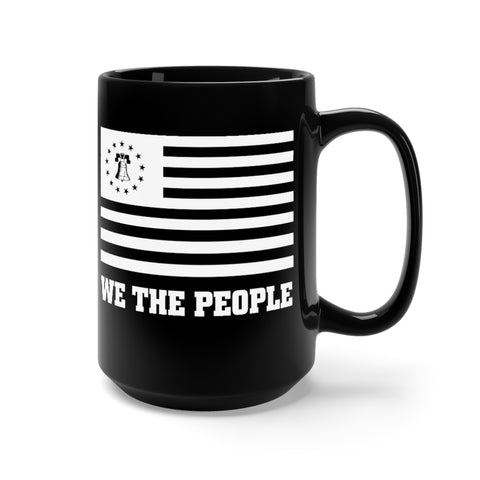 CAUTION LINE Premium Apparel Liberty Mug 15oz - Black with White Print