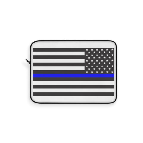 CAUTION LINE Premium Apparel Laptop Sleeve - Thin Blue Line (White Sleeve)