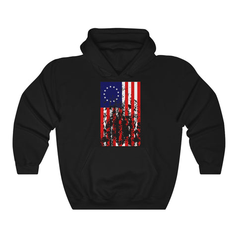CAUTION LINE Premium Apparel Distressed Betsy Ross Flag Unisex Heavy Blend™ Hooded Sweatshirt