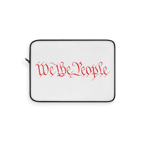 CAUTION LINE Premium Apparel Laptop Sleeve - We The People - Red (White Sleeve)