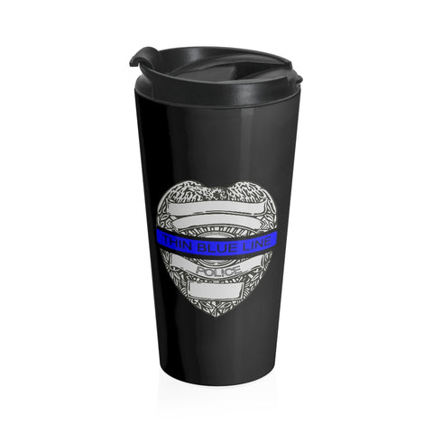 CAUTION LINE Premium Apparel Thin Blue Line Black Stainless Steel Travel Mug