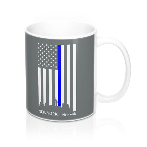 CAUTION LINE Premium Apparel Thin Blue Line New York City Mug - 11oz - White / Gray