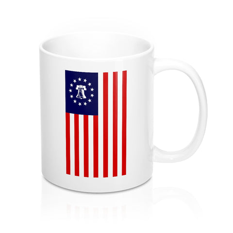 CAUTION LINE Premium Apparel Betsy Ross Liberty Bell Flag Mug - 11oz